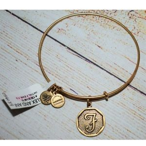 New Alex and Ani Gold Letter F Charm Bracelet